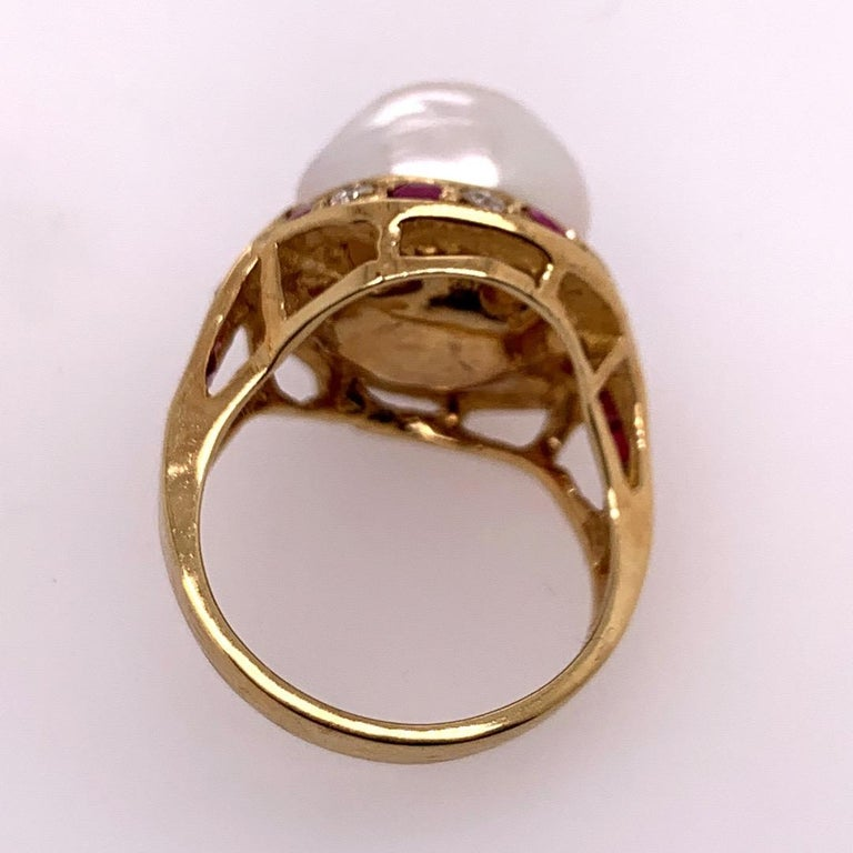 Women's Retro Gold Cocktail Ring 1.4 Carat Natural Ruby, Diamond and Pearl, circa 1950 For Sale
