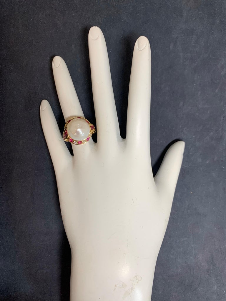 Retro Gold Cocktail Ring 1.4 Carat Natural Ruby, Diamond and Pearl, circa 1950 For Sale 1