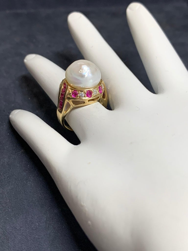 Retro Gold Cocktail Ring 1.4 Carat Natural Ruby, Diamond and Pearl, circa 1950 For Sale 2