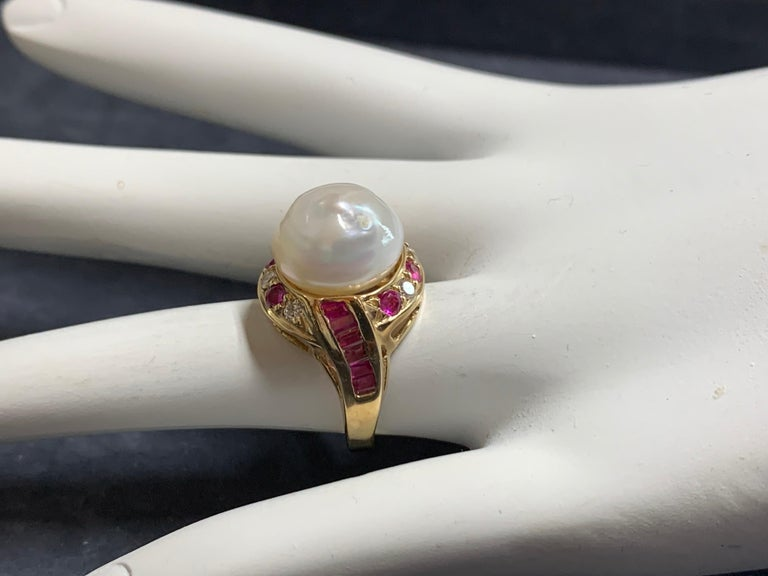 Retro Gold Cocktail Ring 1.4 Carat Natural Ruby, Diamond and Pearl, circa 1950 For Sale 3
