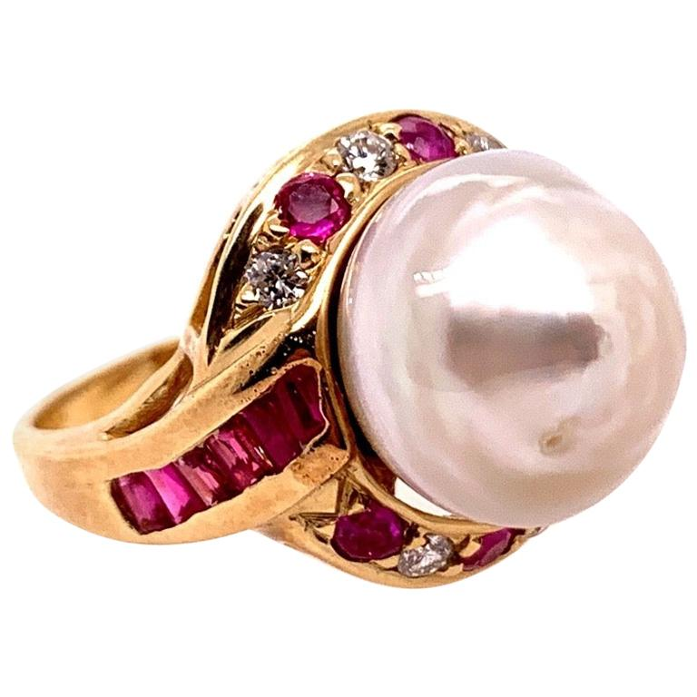 Retro Gold Cocktail Ring 1.4 Carat Natural Ruby, Diamond and Pearl, circa 1950 For Sale