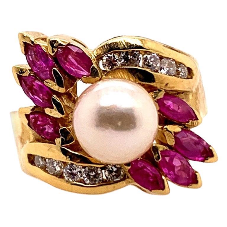 Retro Gold Cocktail Ring 1.50 Carat Natural Ruby, Diamond and Pearl, circa 1960