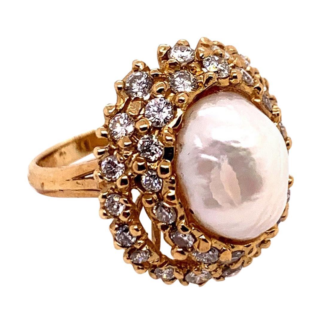 Retro Gold Cocktail Ring 1.8 Carat Natural Colorless Diamond & Pearl, circa 1950
