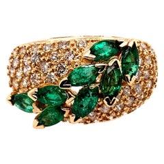 Retro Gold Cocktail Ring 1.8 Carat Natural Marquise Emerald & Diamond circa 1960