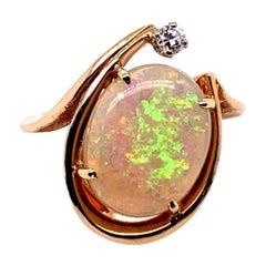 Retro Gold Cocktail Ring 3 Carat Natural Opal Gemstone & Diamond Ring circa 1970