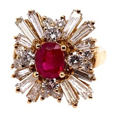 Retro Gold Cocktail Ring 4.5 Carat Natural Ruby and Baguette Diamond, circa 1960