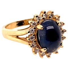 Retro Gold Cocktail Ring 4.50 Carat Natural Blue Sapphire and Diamond circa 1960