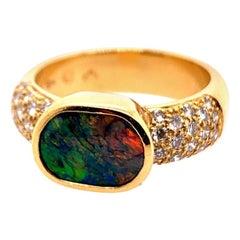 Retro Gold Cocktail Ring Natural 1 Carat G VS Diamond & Opal Gemstone circa 1960