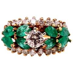 Retro Gold Cocktail Ring Natural 1.8 Carat Marquise Emerald & Diamond circa 1960