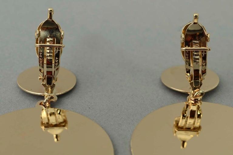 Retro Gold Dangle Earrings For Sale 1