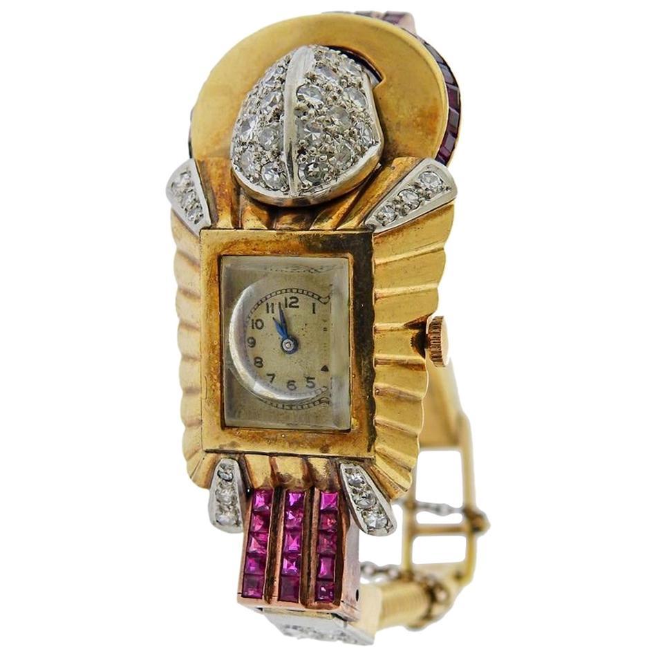 Retro Gold Diamond Ruby Watch