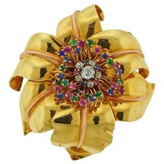 Retro Gold Diamond Sapphire Emerald Ruby Flower