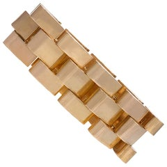 Retro Gold Escalator Tank Bracelet, French Import