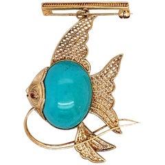 Retro Gold Fish Brooche Natural Turquoise and Ruby Handmade Pin, circa 1950