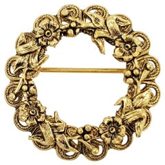 Retro Gold Floral Wreath Pin Brooch, Circa 1970s