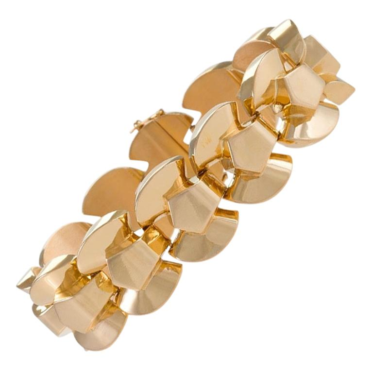 Retro Gold Link Bracelet For Sale