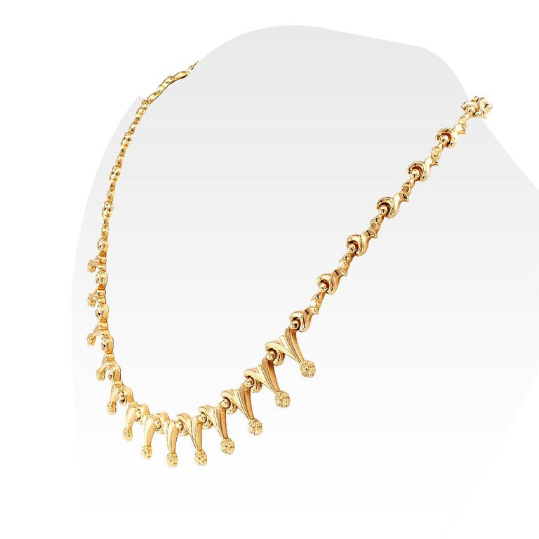 Retro Gold Link Necklace In Good Condition For Sale In Los Angeles, CA