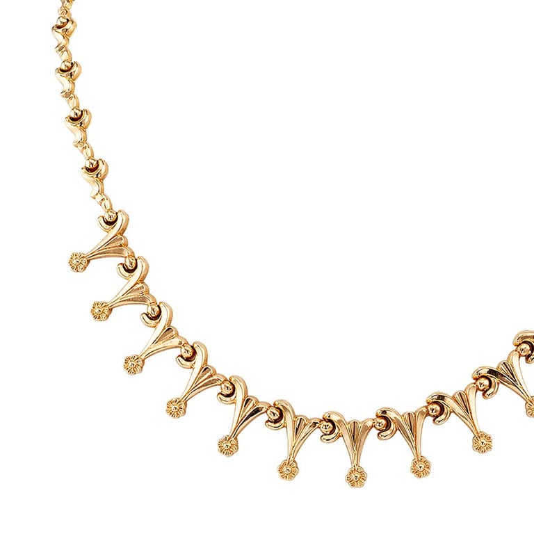 Retro Gold Link Necklace For Sale 1