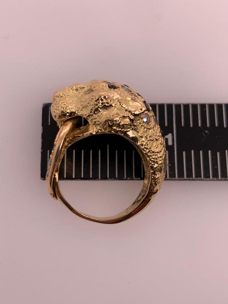 Retro Gold Lion Ring APX .50 Carat Natural Diamond Sapphire Gem Stone circa 1960 For Sale 6
