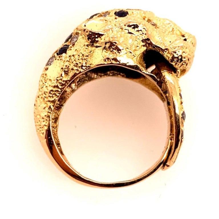 Retro Gold Lion Ring APX .50 Carat Natural Diamond Sapphire Gem Stone circa 1960 For Sale 8