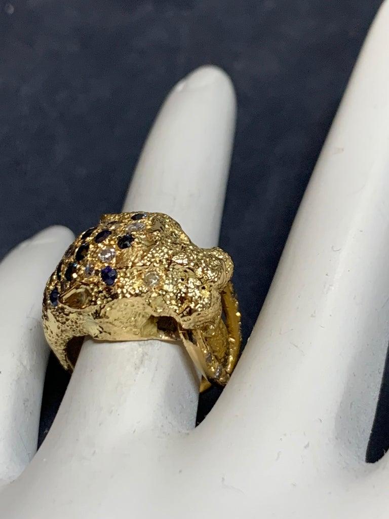 Retro Gold Lion Ring APX .50 Carat Natural Diamond Sapphire Gem Stone circa 1960 For Sale 1