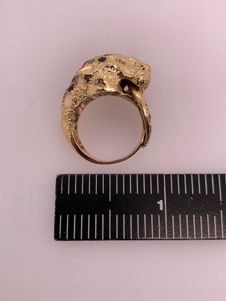 Retro Gold Lion Ring APX .50 Carat Natural Diamond Sapphire Gem Stone circa 1960 For Sale 5