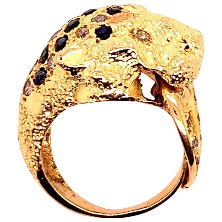 Retro Gold Lion Ring APX .50 Carat Natural Diamond Sapphire Gem Stone circa 1960 For Sale