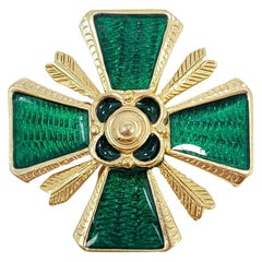 Retro Gold Maltese Cross Pin Brooch, Green Enamel