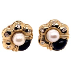 Retro Gold Natural Marquise Diamond, Onyx, and Pearl Clip Earrings, circa 1980