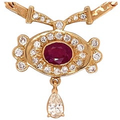 Retro Gold Necklace 3.25 Carat Total Natural Ruby & Diamond Gem Stone circa 1960