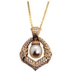 Retro Gold Necklace 7.5 Carat Natural Round Colorless Diamond & Pearl circa 1950