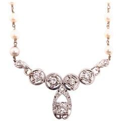 Retro Gold Necklace Natural 1 Carat Round Diamond and Pearl Gem Stone circa 1970