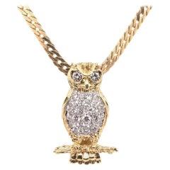 Retro Gold Owl 1 Carat Natural Colorless Diamond Necklace Pendant, circa 1960