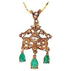 Retro Gold Pendant 1.80 Carat Natural Diamond and Emerald Gem Stone, circa 1960