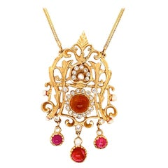 Retro Gold Pendant 6 Carat Natural Diamond, Ruby, Quartz Gemstone circa 1960