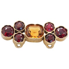 Retro Gold-Plated Brooch/Sliding Pendant with Citrine and Rhodolite Garnets