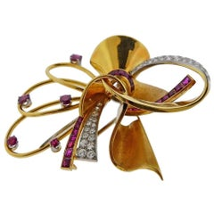 Retro Gold Platinum Ruby Diamond Brooch