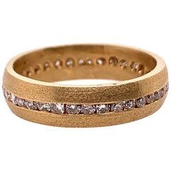 Retro Gold Ring 0.75 Carat Natural Diamond Cocktail Engagement Band, circa 1950
