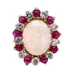 Retro Gold Ring Approx 6.22 Carat Natural Opal Diamond Ruby Gem Stone circa 1960