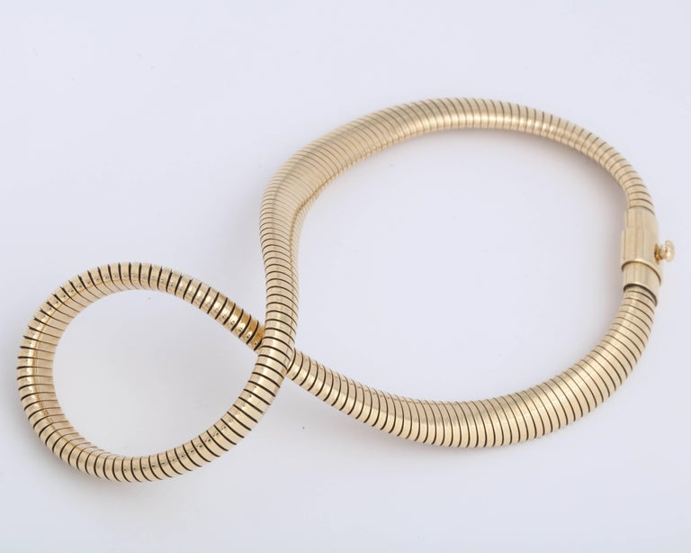 Retro Gold Snake Necklace For Sale 4