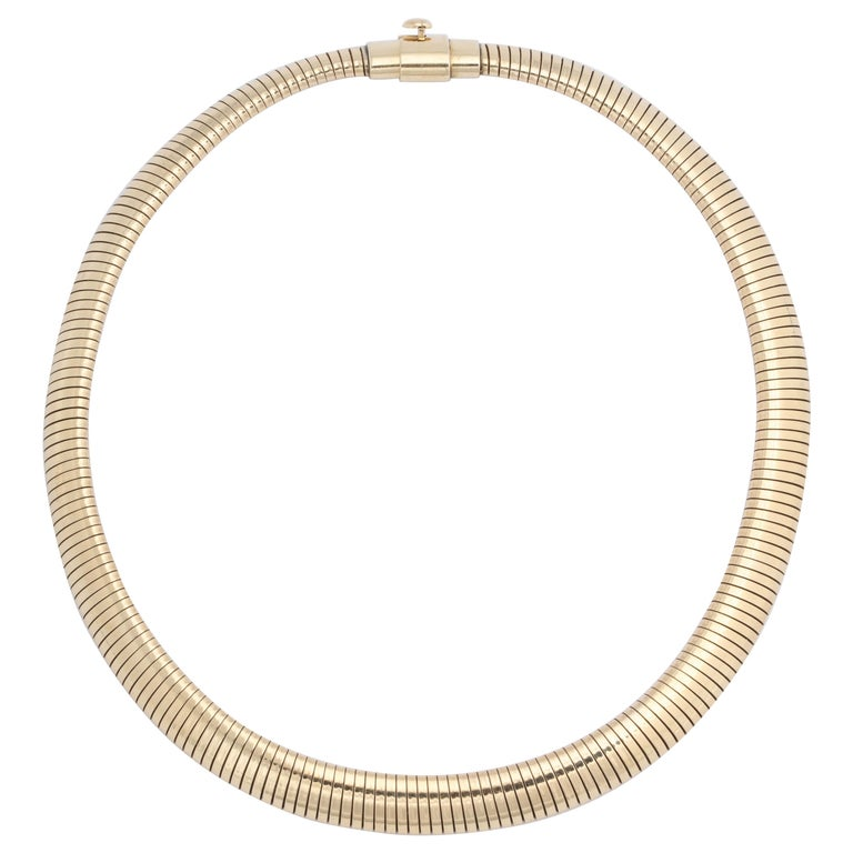 Retro Gold Snake Necklace For Sale