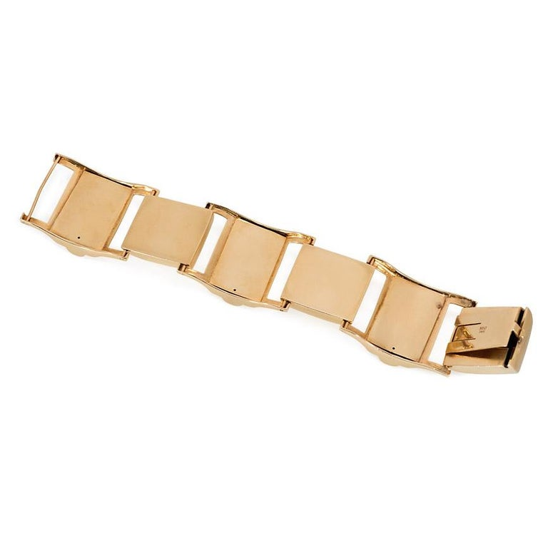 Retro Gold Chunky Sugarloaf Link Bracelet In Good Condition For Sale In New York, NY