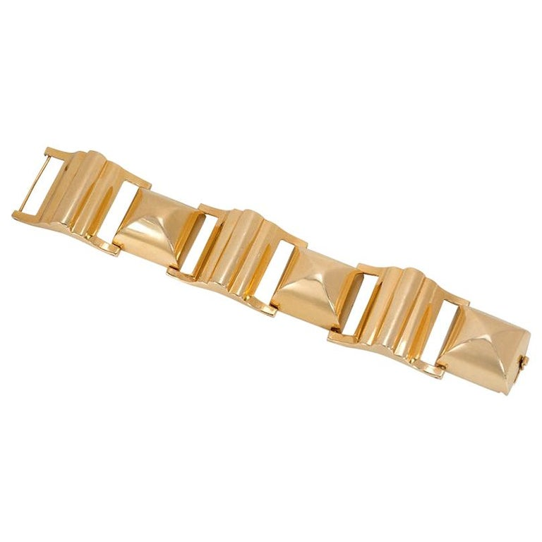 Retro Gold Chunky Sugarloaf Link Bracelet For Sale
