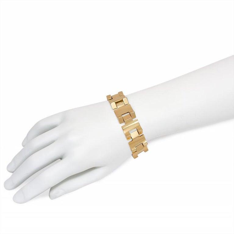Women's or Men's Retro Gold Tank Bracelet of Geometric Sloping Links, French Export