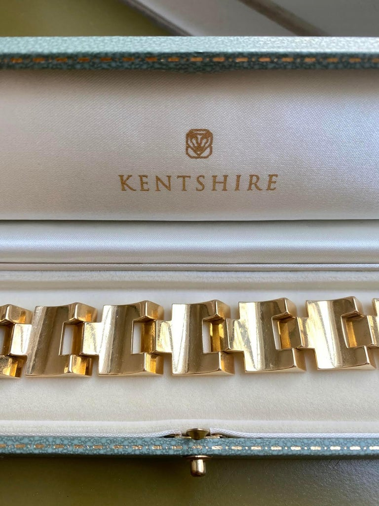 Retro Gold Tank Bracelet of Geometric Sloping Links, French Export 1