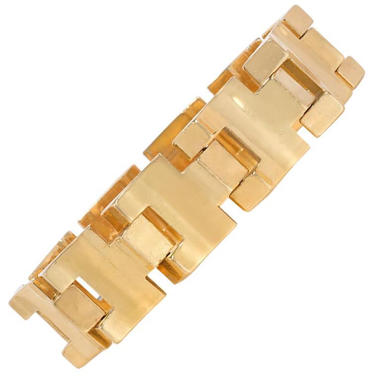 Retro Gold Tank Bracelet of Geometric Sloping Links, French Export