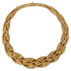 Retro Gold Three-Row Twisted Gas Pipe Link Necklace