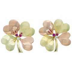 Retro Gold Tiffany & Co. 4-Leaf Clover Earrings