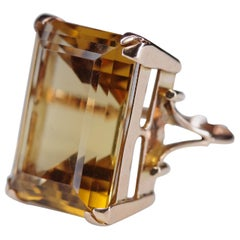 Retro Golden Citrine Cocktail Ring