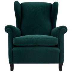 Retro Green Wing Back Armchair, 1960s-1970s